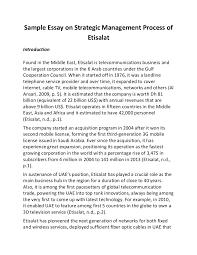 sample essay on strategic management process of etisala