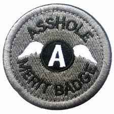 ASS HOLE MERIT BADGE MORALE 3D U.S. EMBROIDERED TACTICAL MILITARY HOOK  PATCH *01   eBay