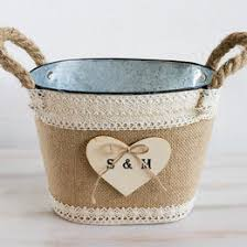 burlap flower basket wedding personalized basket rustic tin bucket bridal basket flower basket rustic country flower