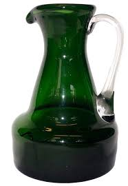 vintage 1960 s handblown green glass pitcher with clear glass handle