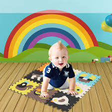 herchr baby play mat 9pcs baby children play floor mats infant animal crawling pad soft foam floor mat w fence kids play pad foam floor mat