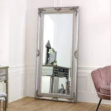 extra large ornate silver wall floor mirror