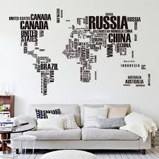 60 90cm large world map letter wall stickers letters map wall art bedroom home use on adhesive wall art letters with 60 90cm large world map letter wall stickers letters map wall art