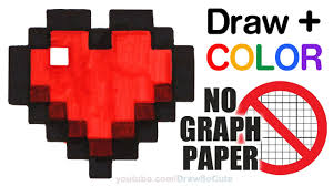 Graph Paper Draw How To Draw Color A Minecraft Heart Easy No Graph Paper Step By