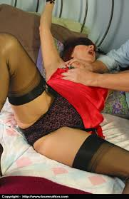 Nylon stocking bondage blindfold