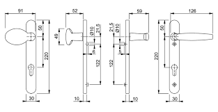 technical diagram for atlanta lever pad door handle