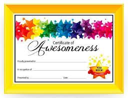 Certificate Of Awesomeness Pe Awards Certificates Award
