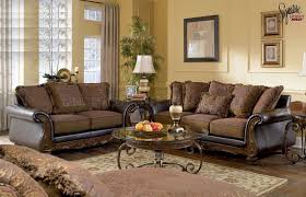 Fantastic Leather Sofa And Loveseat Set Walnut Fabric And Faux