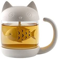 Digoon 10 oz Cute Cat Glass Cup Tea Mug With Fish ... - Amazon.com