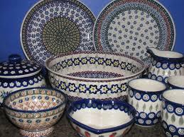 Dining Room, Modern Italian Ceramic Dinnerware Pretty Perky Polish Pottery  White Blue Ceramic Tableware Set  our table top ...