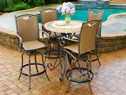 pretty outdoor pub table and chairs 12 patio high top round four metal swivel 4 piece dining set