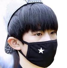 Mouth Mask Design Unisex Anti Dust Solid Black White Star Cotton Earloop Face