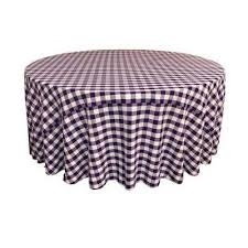 108 in white and purple polyester gingham checd round tablecloth
