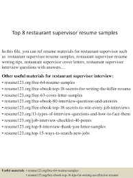 Top 8 restaurant supervisor resume samples In this file, you can ref resume  materials for ...