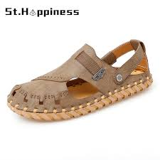 <b>Summer Men Leather</b> Sandals Fashion Comfortable Handmade ...