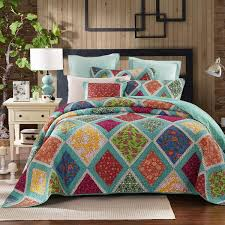 Bedspreads & Quilt Sets & Dada Bedding Fairy Forest Glade Bohemian Floral Diamond Patchwork Quilted  Bedspread Set (JHW-570) Adamdwight.com