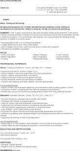 Nanny Qualifications Resume