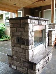 double sided electric fireplace indoor outdoor gas stone caps