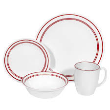 Corelle Livingware Classic Cafe Red 16 Piece Dinnerware Set - Home Dining \u0026 Entertaining Tableware Sets Collections
