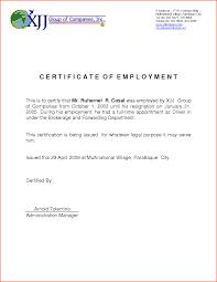 Employment Certificate Letter Sample Infoe Link