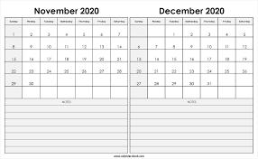 Print November December 2020 Calendar Template 2 Month