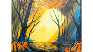 fall forest with pumpkins step by step acrylic beginners painting lesson you