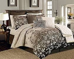 Amazon.com: 12 Pieces Brown Beige Bamboo Leaves Tropical Comforter ... & 12 Pieces Brown Beige Bamboo Leaves Tropical Comforter Set King Size Bedding Adamdwight.com