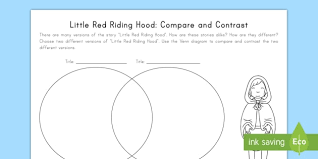 Venn Diagram Compare And Contrast Little Red Riding Hood Compare And Contrast Worksheet Activity