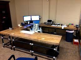 u shaped butcher block desk by simplified building concepts