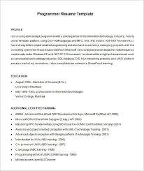 Programmer Resume Template Programmer Resume Template 8 Free Samples