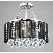 drum shade crystal ceiling chandelier pendant light fixture lighting lamp luxury black drum shade chrome crystal ceiling chandelier pendant