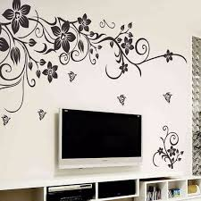 diy removable plastic black plant flower wall stickers home decor living room modern art home decoration