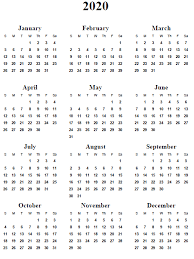 2020 Calendar Free Template 2020 Calendar Printable Free Free Printable Calendar