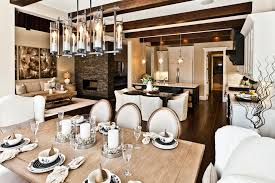 how to decorate the candle dining room rustic with wood dining table open kitchen linear chandelier