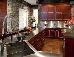 Black Kitchen Laminate Flooring Modern Kitchen Installed Cherry Wood Cupboards And Black