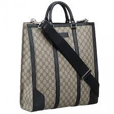 gucci gg supreme silver hardware black leather detail las clone top handle bag