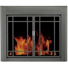pleasant hearth edinburg metal medium cabinet style fireplace doors with smoke tempered glass