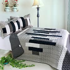 Elegant Black White Grey Striped Teen Bedding Girl Boy Quilt Set ... & Elegant Black White Grey Striped Teen Bedding Girl Boy Quilt Set Oversized  Bedspread Adamdwight.com