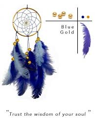 Small Dream Catchers For Sale Roohworld Rooh dream catcher Blue and Brass small Online 91
