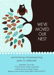 Colorful Owl Leaves Nest Housewarming Party Invitation