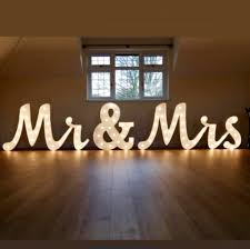 Mr And Mrs Light Up Sign Hire Light Up Mr Mrs Letters Set Joined Writing Style With