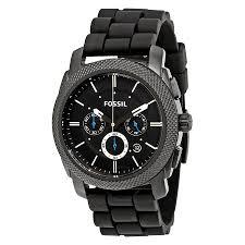 fossil machine chronograph black dial black silicone men s watch fossil machine chronograph black dial black silicone men s watch fs4487