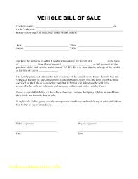 Generic Bill Of Sale Form Used Auto Bill Of Sale Form Printable Vehicle Free Motor Template