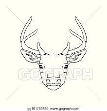 Vector Stock Sketch Of Deers Head Portrait Of Forest