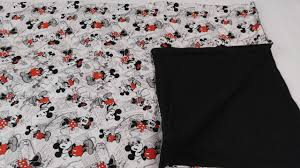 crib set made with mickey and minnie fabric black white red