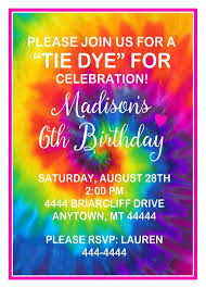 Tie Dye Invitations Tie Dye Birthday Party Tie Dye Party Tie Dye Birthday Invitations Diy Or Printed 70s Party Invitations Groovy