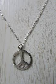 details about sterling silver peace sign necklace extra long figaro chain cool hippie pendant