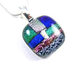 memorial ashes cremation pendant small patchwork blue c pink