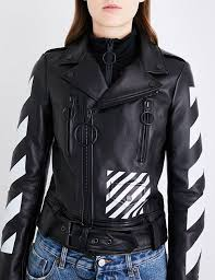 latest off white c o virgil abloh black white biker jacket for women on