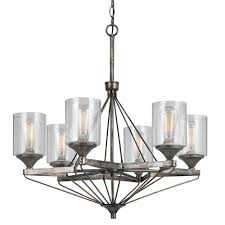 cal lighting fx chandelier with clear seeded glass shades
